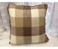 Подушка Клетка (коричневый кант)