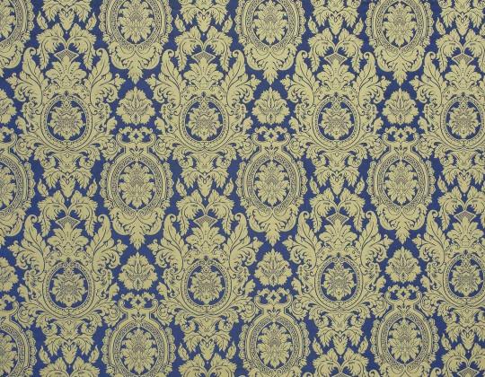 Портьєрна тканина Вензель V-13 синій, беж-золото
