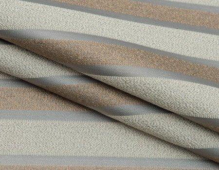 Портьєрна тканина Domin PL-14 смуга беж-золото, св.сірий