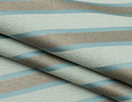 Портьєрна тканина Domin PL-14 смужка блакитна ялинка / св.беж.