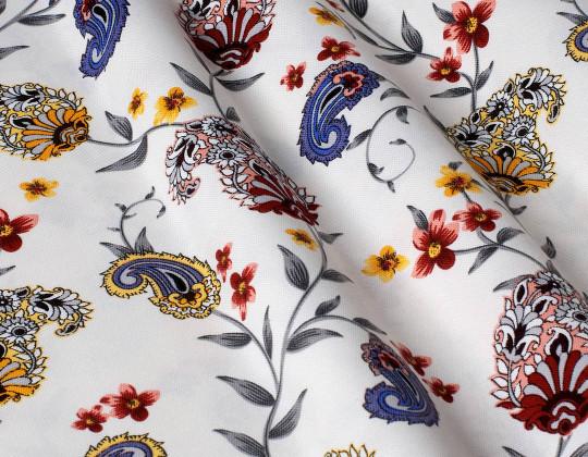 Декоративна тканина Пейслі, червоно-жовті на білому фоні