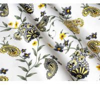 Пейслі, сіро-жовті на білому фоні