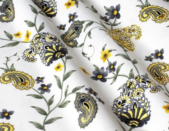 Декоративна тканина Пейслі, сіро-жовті на білому фоні