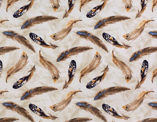 Декоративна тканина Пір'я цесарки, коричневі на бежевому фоні