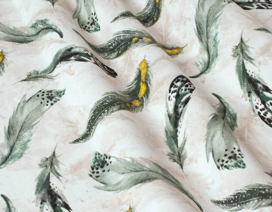 Декоративнатканина Пір'я цесарки, сірі на молочному фоні