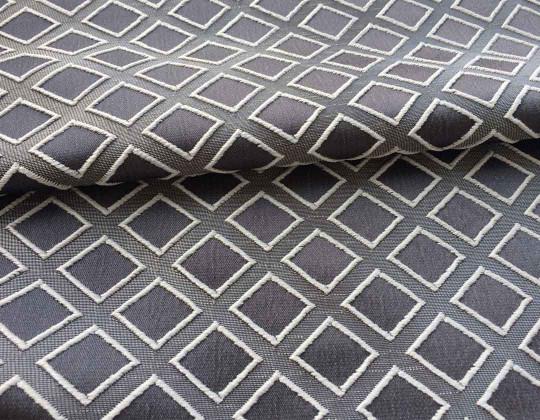 Портьєрна тканина  Mira ромб сірий, фон сірий