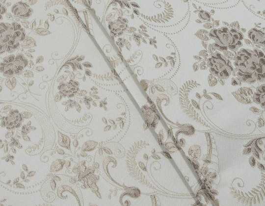 Портьєрна тканина Полі P-13, фон світло-бежевий, квітибежево-рожеві