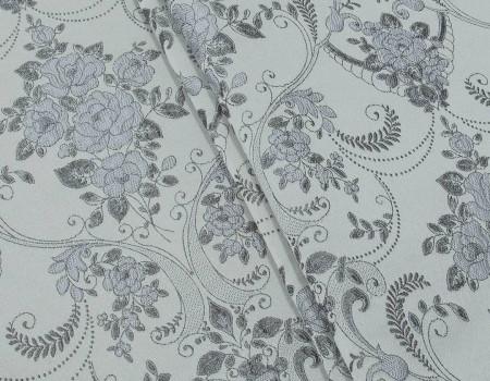 Портьєрна тканина Полі P-13, фон світло-сірий, квітитемно-сірі