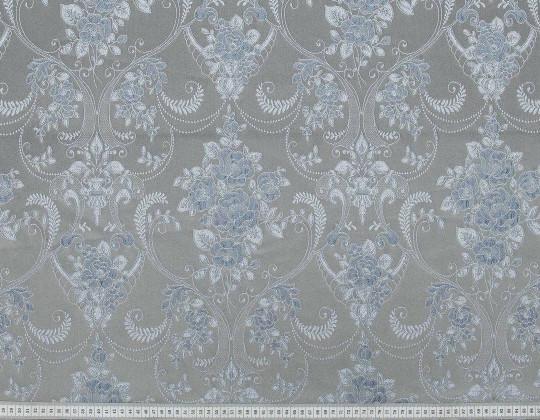 Портьєрна тканина Полі P-13, фон пісок, квітисіро-блакитні