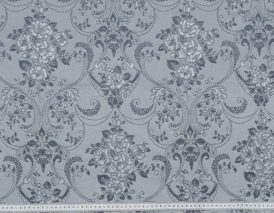 Портьєрна тканина Полі P-13, фон сірий, квітиграфіт