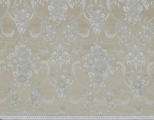 Портьєрна тканина Полі P-13, фон бежевий, квіти сірі