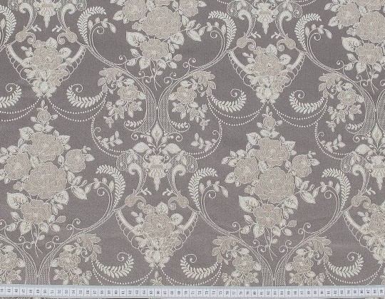 Портьєрна тканина Полі P-13, фон мокко, квіти бежево-рожеві