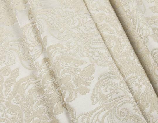 Портьєрна тканина Вензель атлас VA-14 перламутр, крем